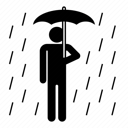man, men, rain, rainy, umbrella, wait, weather icon