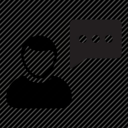 bubble, chat, man, message, person, speech, talk icon