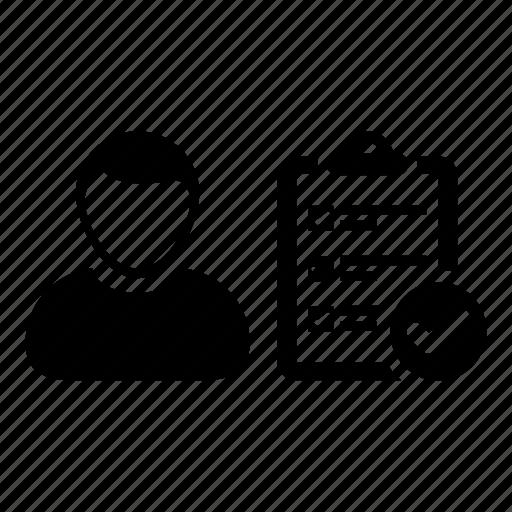 checklist, man, person, survey, task, todo, user icon