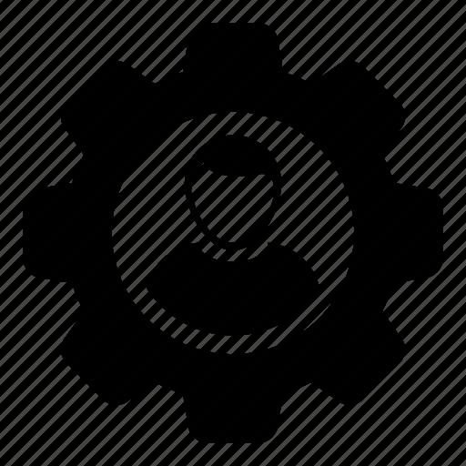 avatar, cog, gear icon