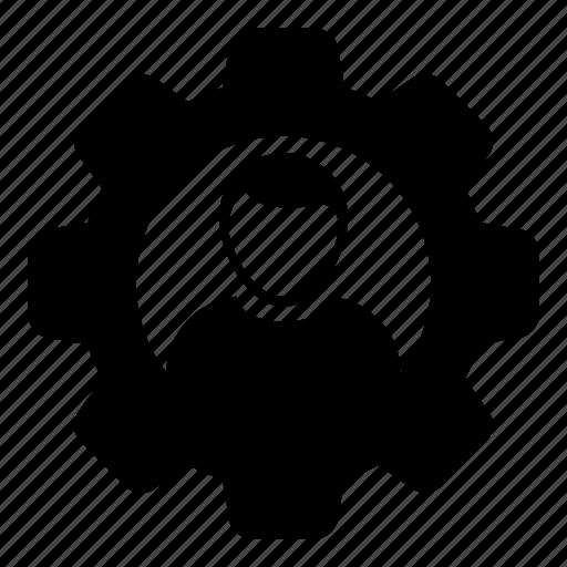avatar, cog, configuration, gear, person, settings, user icon