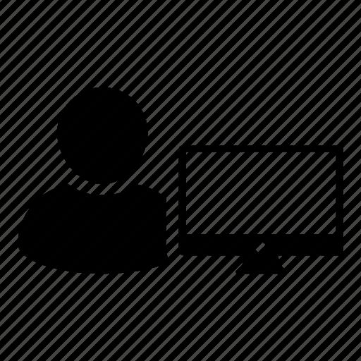 business, computer, login, man, monitor, person, user icon