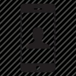 account, man, mobile, person, profile, smartphone, user icon