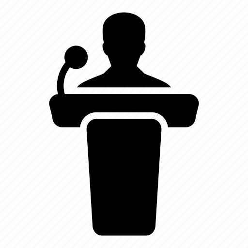 man, person, podium, presentation, public, seminar, speaker icon