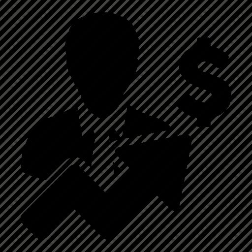 arrow, business, dollar, finance, growth, money, person icon