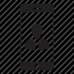 account, business, man, mobile, person, profile, smartphone icon