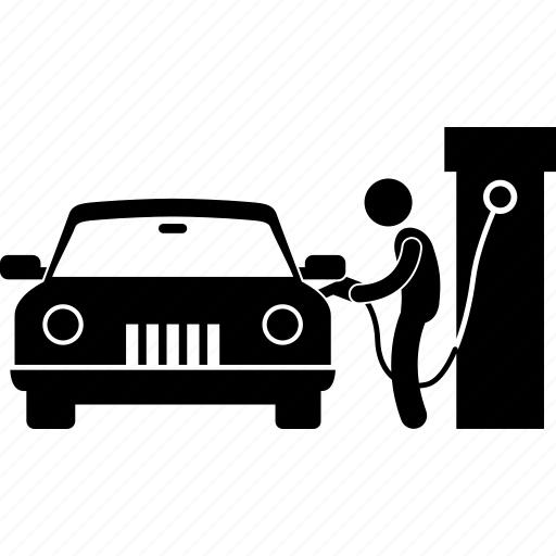 car, drive thru, gasoline, man, petrol, pump, service icon