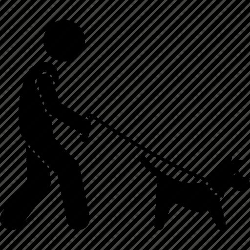 dog, leash, man, walking icon