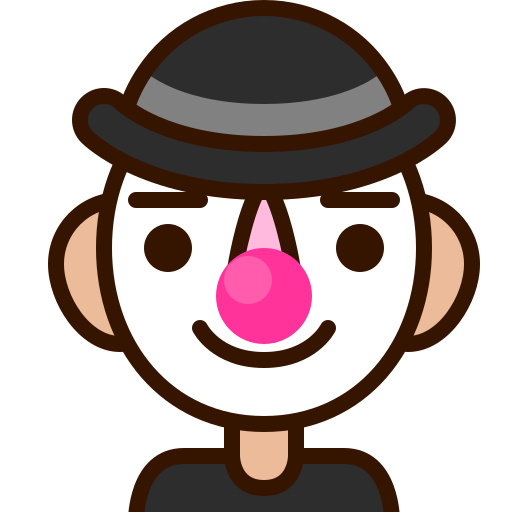 clown, emoji, emoticon, funny, happy, man, smiley icon