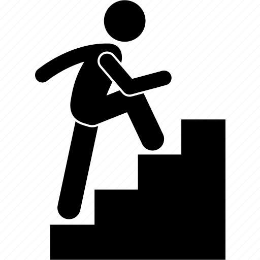 climbing, going, running, staircase, stairs, up icon