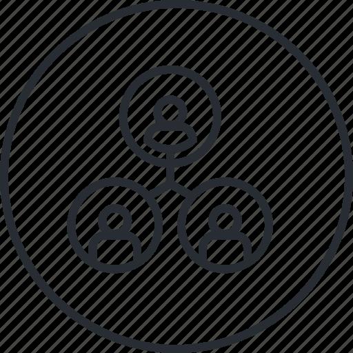 business, hierarchy, line, management, organization, teamwork icon