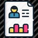 cv, management, profile, report, skill, strategic icon