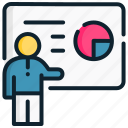 business, chart, management, presentation, professor, strategic icon
