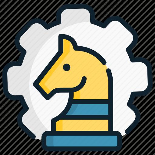 configuration, gear, horse, management, set, strategic, strategy icon