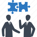 business solution, planning, puzzle, strategy, teamwork icon
