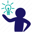 brainstorming, business idea, businessman, creativity, ideas, strategy, think icon