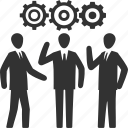 business, gear, strategy, teamwork icon