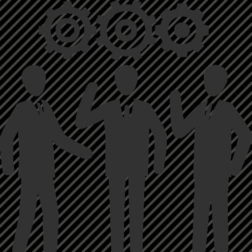 business, gear, strategy, teamwork icon