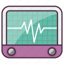 heart rate, medical, monitor icon