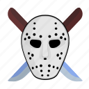 face, hockey, killer, knifes, maniac, mask icon