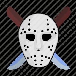 face, hockey, killer, knifes, maniac, mask icon