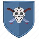 killer, maniac, shield, sign icon