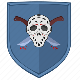 killer, maniac, shield, sign icon
