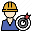 goal, kpi, manufacturing, production, standard, worker icon