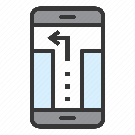 direction, location, map, mobile phone, navigation, pin, turn left icon
