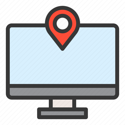direction, location, map, navigation, pin, screen icon