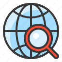 direction, location, magnify glass, map, navigation, pin, search icon