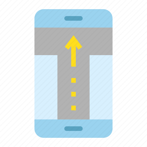 direction, location, map, mobile phone, navigation, pin, straight icon