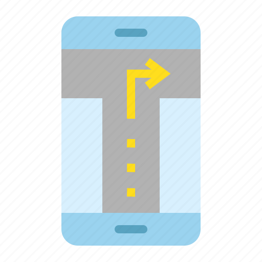 direction, location, map, mobile phone, navigation, pin, turn right icon