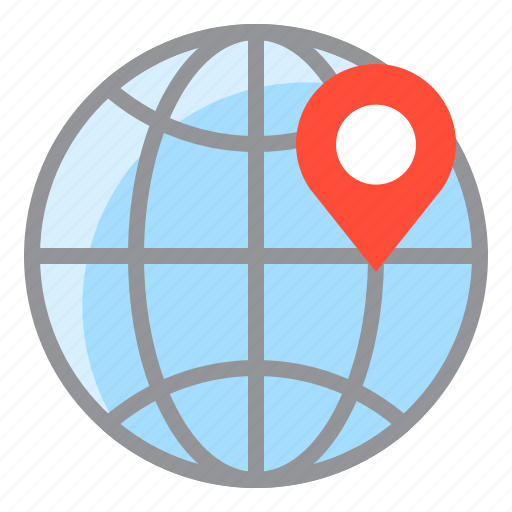 direction, globe, location, map, navigation, pin icon