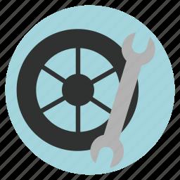 auto repairs, car, car service, city, tire icon
