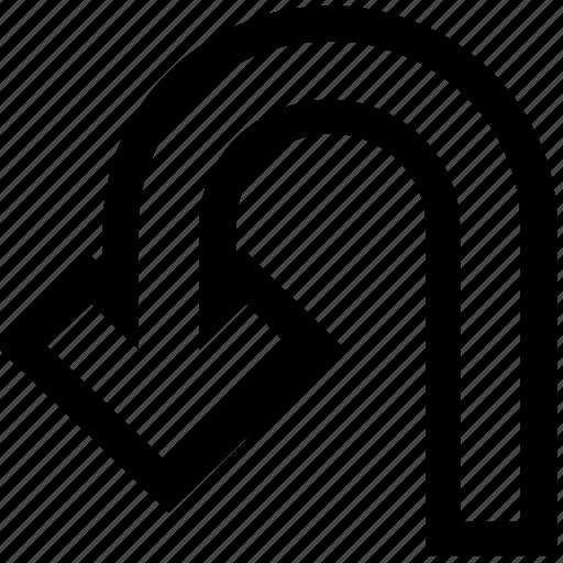 arrow, direction, point, pointer, turn, u turn icon