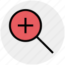 glass, in, magnifying, plus, search, zoom, zoom in icon