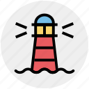 beach building, building, light, ocean, ocean tower, sea light house, sea tower, weather icon