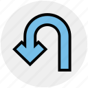 arrow, direction, point, pointer, turn, u turn icon