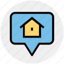 bubble, estate, home, home location, house, main, page icon