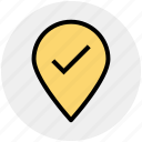 check, direction, location, map, marker, pin, world location icon