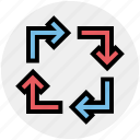 arrow, arrows, direction, four, motion, navigation icon
