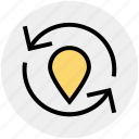 arrows, gps, location, map, navigation, pin, pointer icon