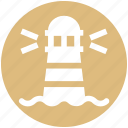 beach building, building, light, ocean, ocean tower, sea light house, weather icon