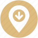 arrow, direction, down, geo location, location, map, pin icon