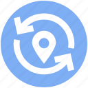 arrows, gps, location, map, navigation, pin, pointer