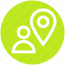direction, location, location pin, man, pin, user, user placeholder icon
