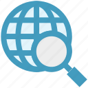 earth, explore, find, globe, magnifier, search engine, world icon