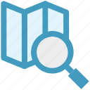 gps, location, magnifying glass, map, navigation, paper, search icon