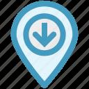 arrow, direction, down, geo location, location, location arrow, map pin icon